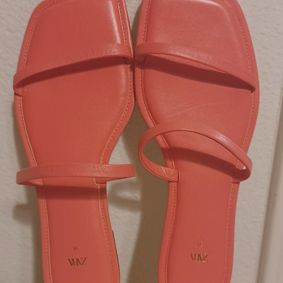 Brand New Zara pink square toe leather sandals.